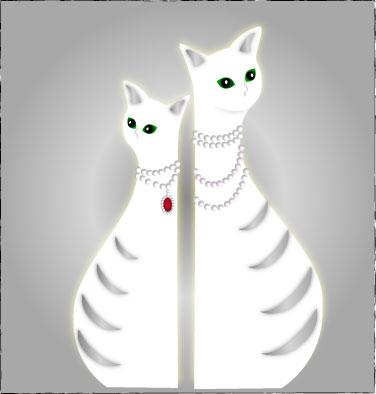 真珠の首飾りの猫