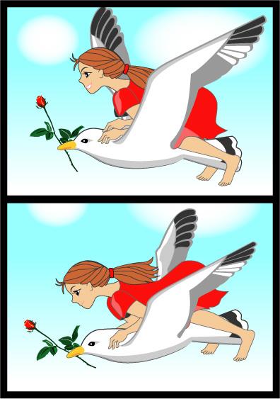 かもめと少女とバラの花